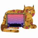 amarillo personal del marco del gato fotoescultura vertical