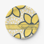Amarillo personalizada, blanco, floral moderno del