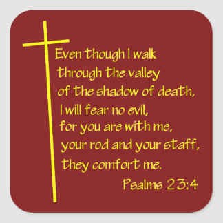 Amarillo Psalms23-4 Pegatina Cuadrada