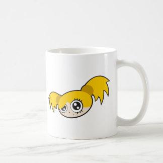 Amarillo punky del chica taza de café