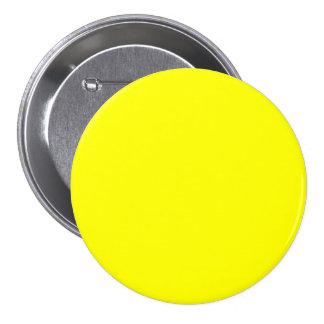 Amarillo puro - espacio en blanco brillante de la  pin redondo 7 cm
