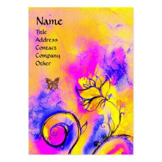 Amarillo púrpura rosado CAPRICHOSO de las FLORES y Plantilla De Tarjeta Personal