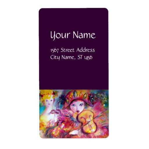 Amarillo púrpura rosado rojo de ARLECCHINO Y de Etiquetas De Envío