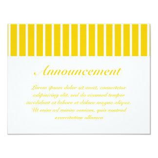 Amarillo + Rayas de encargo del estrecho del color Invitación Personalizada