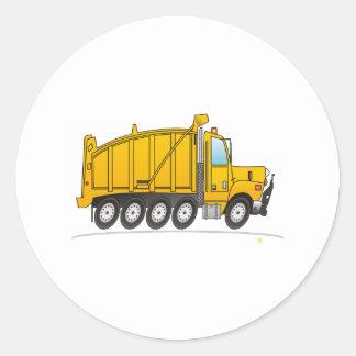 Amarillo resistente del camión volquete pegatina redonda