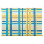 Amarillo retro, azul, Brown raya el modelo Manteles Individuales