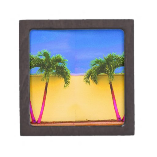 Amarillo retro del cielo de dos árboles de la palm caja de regalo de calidad
