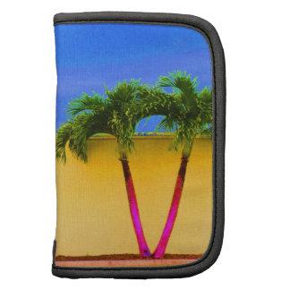 Amarillo retro del cielo de dos árboles de la palm planificadores