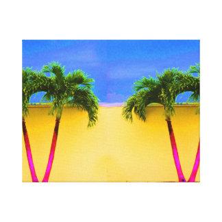 Amarillo retro del cielo de dos árboles de la palm lona envuelta para galerías