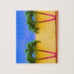 Amarillo retro del cielo de dos árboles de la palm puzzles