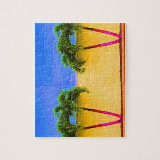 Amarillo retro del cielo de dos árboles de la palm puzzle