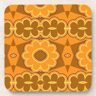 amarillo retro del marrón del flower power del vin posavasos