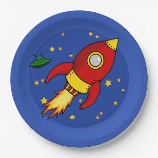 """Amarillo rojo 9"""" de Rocket placa de papel Platos De Papel"""