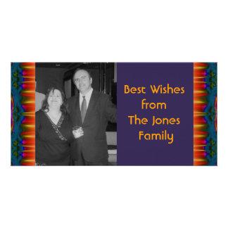 amarillo rojo azul marino tarjeta fotografica personalizada