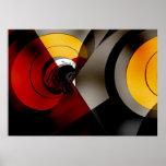 Amarillo rojo del espacio lunar del poster del art
