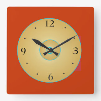 Amarillo rojo simplista con el reloj de