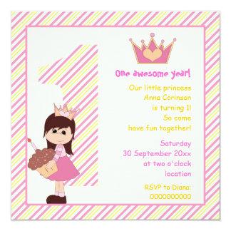 Amarillo rosado del pequeño de la princesa comunicados personalizados