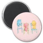 Amarillo, rosado, y azul refiere sillas imán redondo 5 cm
