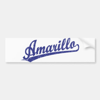 Amarillo script logo in blue car bumper sticker