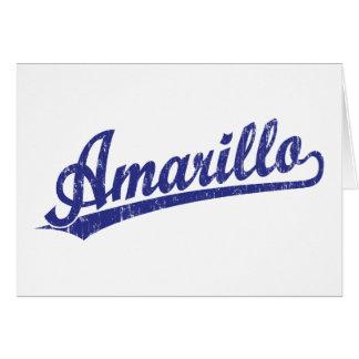 Amarillo script logo in blue cards