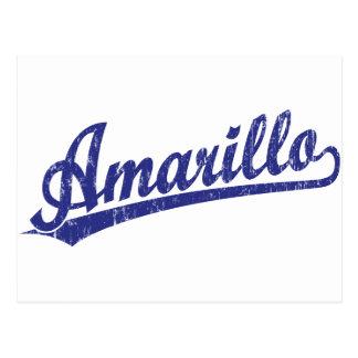 Amarillo script logo in blue postcards