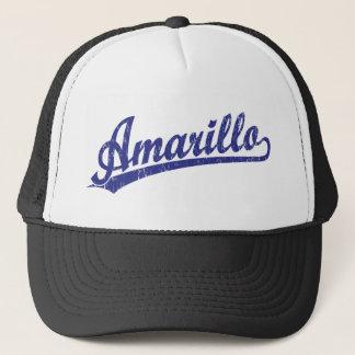 Amarillo script logo in blue trucker hat
