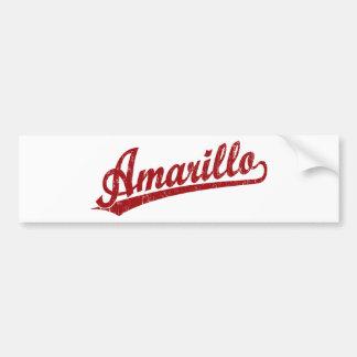 Amarillo script logo in red car bumper sticker