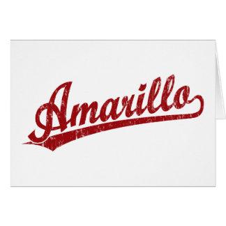 Amarillo script logo in red card