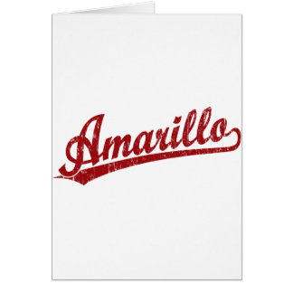 Amarillo script logo in red greeting cards