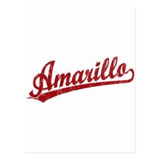 Amarillo script logo in red post card