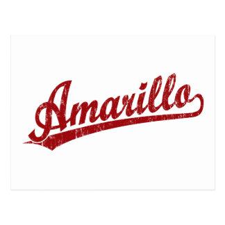 Amarillo script logo in red postcard