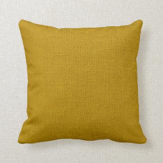 Amarillo simple de la mostaza de la arpillera almohadas