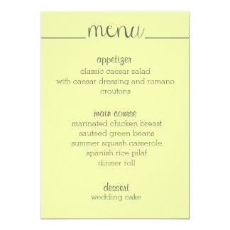 """Amarillo simple de la tarjeta del menú de la invitación 5"""" x 7"""""""