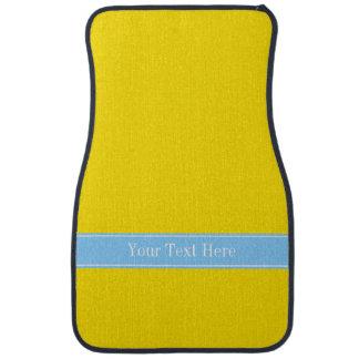Amarillo sólido, monograma conocido de Blue Ribbon Alfombrilla De Auto
