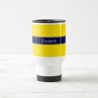 Amarillo sólido monograma del nombre de la cinta tazas de café