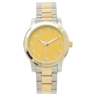 Amarillo sólido/oro del azafrán relojes de mano