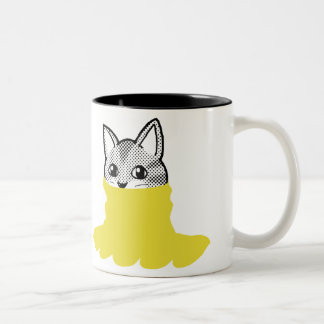 Amarillo sonriente del cuello alto del gato taza de dos tonos