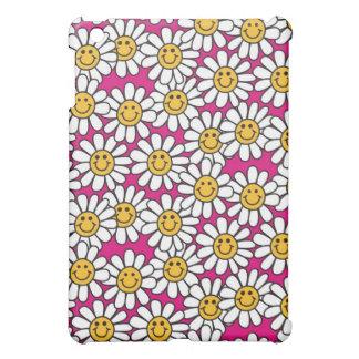 Amarillo sonriente del rosa del modelo de flores d iPad mini carcasas