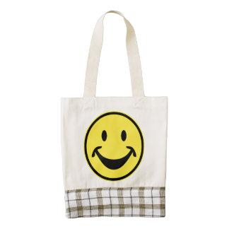 Amarillo sonriente divertido + su backg. y ideas bolsa tote zazzle HEART