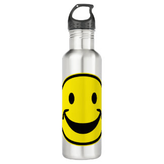 Amarillo sonriente divertido + su fondo y ideas botella de agua
