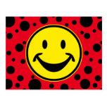 Amarillo sonriente divertido y puntos + su backg. postales