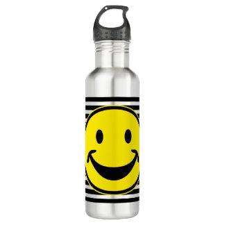 Amarillo sonriente divertido y rayas + su backg. y botella de agua