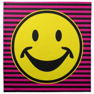 Amarillo sonriente divertido y rayas + su backg. y servilleta