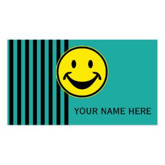 Amarillo sonriente divertido y rayas + su backg. y tarjetas de visita
