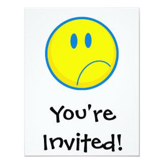 """amarillo sonriente y azul de la cara triste tonta invitación 4.25"""" x 5.5"""""""