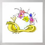 amarillo straw.png de la corona de la flor del hue posters