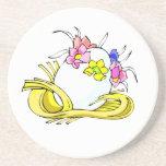 amarillo straw.png de la corona de la flor del hue posavasos diseño