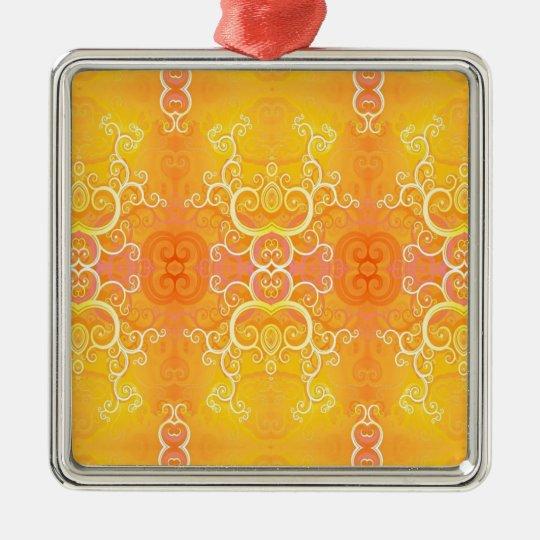 Amarillo suave fresco abstracto adorno navideño cuadrado de metal