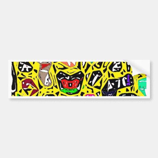 Amarillo surrealista aborigen etiqueta de parachoque