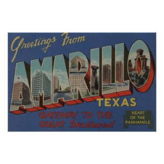 Amarillo, Texas (Heart of the Pan-Handle) Poster